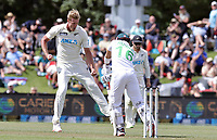 Kyle Jamieson of New Zealand celebrates the wicket of Mohammad Rizwan during day one of the second International Test Cricket match between the New Zealand Black Caps and Pakistan at Hagley Oval in Christchurch, New Zealand on Sunday, 3 January 2021. Photo: Martin Hunter / lintottphoto.co.nz