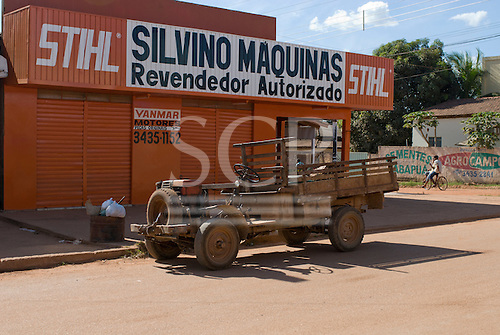 Pará State, Brazil. São Félix do Xingu. Ramshackle truck with motor from illegal gold mine (garimpo) pump.