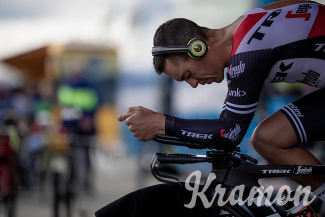Richie Porte (AUS/Trek-Segafredo) warming up for the TT<br /> <br /> Stage 4 (ITT): Roanne to Roanne (26.1km)<br /> 71st Critérium du Dauphiné 2019 (2.UWT)<br /> <br /> ©kramon