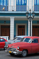Classic American cars parked in the streets of Havana, Cuba.