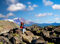 Teenage backpacker. Tam Macarthur Rim, Three Sisters Wilderness, Oregon.