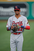 Peoria Chiefs Delvin Perez (32) during warmups before a Midwest League game against the Fort Wayne TinCaps on July 17, 2019 at Parkview Field in Fort Wayne, Indiana.  Fort Wayne defeated Peoria 6-2.  (Mike Janes/Four Seam Images)