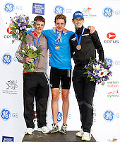 Photo: Richard Lane/Richard Lane Photography. GE Parc Bryn Bach Triathlon. 19/09/2010. (lt to rt) Alistair Brownlee and  Jonathan Brownlee (joint 1st) and Stuart Hayes (3rd) of England on the podium after the Elite Mens' race.