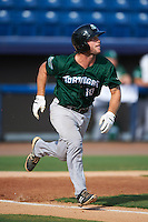 Daytona Tortugas catcher Garrett Boulware (10) runs to first during a game against the Brevard County Manatees on August 14, 2016 at Space Coast Stadium in Viera, Florida.  Daytona defeated Brevard County 9-3.  (Mike Janes/Four Seam Images)