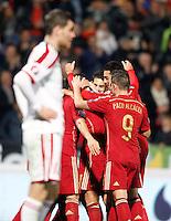 Spain's players celebrate goal during 15th UEFA European Championship Qualifying Round match. November 15,2014.(ALTERPHOTOS/Acero) /NortePhoto nortephoto@gmail.com