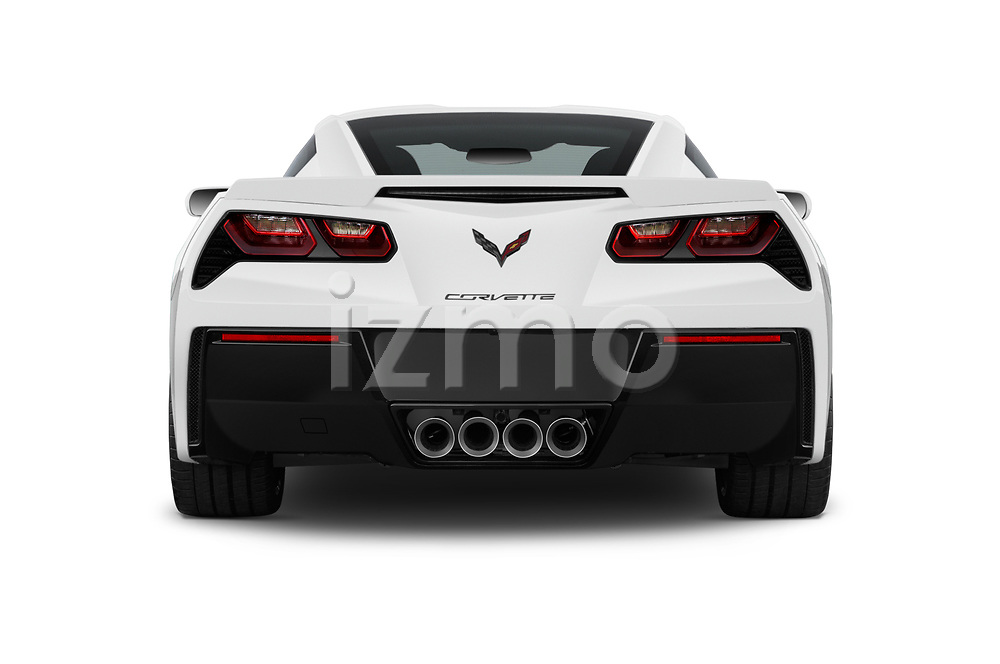 Straight rear view of a 2018 Chevrolet Corvette Stingray 1LT 2 Door Coupe stock images