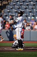 West Virginia Black Bears Fernando Villegas (25) at bat during a NY-Penn League game against the Batavia Muckdogs on August 29, 2019 at Monongalia County Ballpark in Morgantown, New York.  West Virginia defeated Batavia 5-4 in ten innings.  (Mike Janes/Four Seam Images)