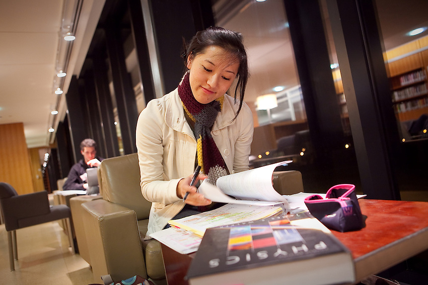 FOR ENGAGED STUDENTS VIDEO: Lafayette college Junior Jacqueline Kikuchi studies in Skillman LIbrary during  finals week