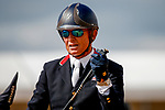 October 17, 2021: Leslie Law (GBR), aboard Voltaire de Tre', reacts after competing during the Stadium Jumping Final at the 5* level during the Maryland Five-Star at the Fair Hill Special Event Zone in Fair Hill, Maryland on October 17, 2021. Jon Durr/Eclipse Sportswire/CSM