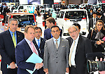 November 30, 2011, Tokyo, Japan - Carlos Ghosn, center, president and CEO of Nissan Motor Co., views exhibition during a press preview of the Tokyo Motor Show on Wednesday, November 30, 2011. ..The Tokyo Motor Show opened to the press Wednesday as Japanese automakers unveiled a bevy of electric cars and other green vehicles at a much smaller venue in central Tokyo, to which the show moved from the nations largest exhibition hall in neighboring Chiba prefecture after 24 years. A total of 176 brands from 13 countries and regions participated in the show. The number of foreign automakers has increased to 24 from previous nine. Out of 398 models, 52 will be shown for the very first time. An estimated 800,000 visitors are expected to attend the week-long exhibition, compared with 1.5 million in 2005, according to the organizers.(Photo by Natsuki Sakai/AFLO) [3615] -mis-.