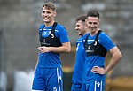 St Johnstone Training…27.09.19<br />Captain Jason Kerr pictured having a laugh with Matty Kennedy and Scott Tanser during training this morning at McDiarmid Park ahead of tomorrow's game against Motherwell.<br />Picture by Graeme Hart.<br />Copyright Perthshire Picture Agency<br />Tel: 01738 623350  Mobile: 07990 594431