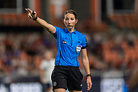 HOUSTON, TX - JUNE 10: Referee Danielle Chesky makes a call during a game between Portugal and USWNT at BBVA Stadium on June 10, 2021 in Houston, Texas.