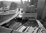 Pittsburgh PA - View of the US Post Office and Federal Building from the roof of Penn Station. View of the near road construction around the Civic Arena and Bigelow Boulevard.