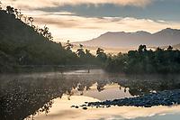 Five Mile Creek near Okarito with  old bridge at sunrise, Westland Tai Poutini National Park, West Coast, UNESCO World Heritage Area, New Zealand, NZ