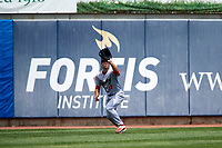 Reading Fightin Phils left fielder Andrew Pullin (17) camps under a fly ball during a game against the Erie SeaWolves on May 18, 2017 at UPMC Park in Erie, Pennsylvania.  Reading defeated Erie 8-3.  (Mike Janes/Four Seam Images)