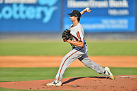 Aberdeen IronBirds starting pitcher Kyle Brnovich (14) delivers a pitch during a game against the Asheville Tourists on June 18, 2021 at McCormick Field in Asheville, NC. (Tony Farlow/Four Seam Images)