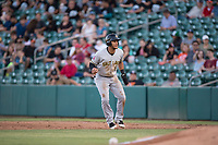 Salt Lake Bees center fielder Michael Hermosillo (6) takes a lead off first base during a Pacific Coast League game against the Fresno Grizzlies at Chukchansi Park on May 14, 2018 in Fresno, California. Fresno defeated Salt Lake 4-3. (Zachary Lucy/Four Seam Images)