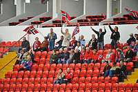 Norwegian fans celebrate their lone goal versus the USA. The USA defeated Norway 2-1 at Olhao Stadium on February 26, 2010 at the Algarve Cup.