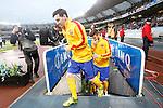 FC Barcelona's Leo Messi (l) and Gerard Pique during La Liga match. April 9,2016. (ALTERPHOTOS/Acero)