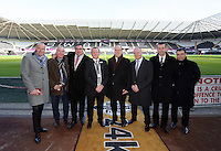SWANSEA, WALES - FEBRUARY 07: Prince Albert of Monaco (C) with Liberty Stadium officials before Premier League match between Swansea City and Sunderland AFC at Liberty Stadium on February 7, 2015 in Swansea, Wales.