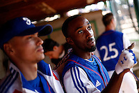 24 June 2011: Felix Brown of Team France. Illustration of a photographic essay called Life in the dugout, during France 8-5 win over UCLA Alumni, at the 2011 Prague Baseball Week, in Prague, Czech Republic.