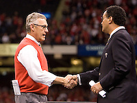 Ohio State head coach Jim Tressel shakes hands with Sugar Bowl chairman Ronnie Burns during 77th Annual Allstate Sugar Bowl Classic between Ohio State and Arkansas at Louisiana Superdome in New Orleans, Louisiana on January 4th, 2011.  Ohio State defeated Arkansas, 31-26.