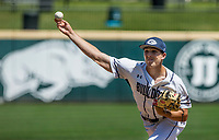 NWA Democrat-Gazette/BEN GOFF @NWABENGOFF<br /> Connor Noland, Greenwood pitcher, delivers to a Benton batter Saturday, May 19, 2018, during the class 6A baseball state championship at Baum Stadium. Greenwood won 4-0.
