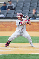 DJ Stewart (8) of the Florida State Seminoles at bat against the Wake Forest Demon Deacons at Wake Forest Baseball Park on April 19, 2014 in Winston-Salem, North Carolina.  The Seminoles defeated the Demon Deacons 4-3 in 13 innings.  (Brian Westerholt/Four Seam Images)