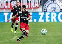 WASHINGTON, DC - FEBRUARY 29: Felipe Martins #18 of DC United fires over a cross during a game between Colorado Rapids and D.C. United at Audi Field on February 29, 2020 in Washington, DC.