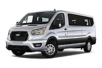 Stock pictures of low aggressive front three quarter view of 2021 Ford Transit XLT 4 Door Passenger Van Low Aggressive