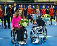 Rotterdam, Netherlands, December 20, 2015,  Topsport Centrum, Lotto NK Tennis, Prizegiving wheelchair womens single: runner up Marjolijn Buis (L) and winner Aniek van Koot (NED)<br /> Photo: Tennisimages/Henk Koster
