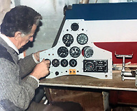 BNPS.co.uk (01202 558833)<br /> Pic: WilliamHosie/BNPS<br /> <br /> William's father Bill with his S.5 replica under construction.<br /> <br /> British pilot William Hosie is attempting to build a working replica of the historic S.5 Schneider trophy seaplane, 33 years after his father was killed in an identical aircraft.<br /> <br /> William Hosie, 58, needs to raise £275,000 to construct a unique Supermarine S.5 from scratch, using the original blueprints of the famous aircraft designed by R.J.Mitchelll in the 1920's.<br /> <br /> The project has an added poignancy as his father, Bill Hosie, perished aged 57 flying an identical S.5 replica he'd built over Mylor, Cornwall, in May 1987.<br /> <br /> Once complete, William hopes to fly the unique seaplane at airshows as a reminder of Britain's proud history from the pioneering days of aircraft and as a tribute to his late father.<br /> <br /> The Supermarine S.5 won the prestigious Schneider Trophy in Venice in 1927 with a speed of 281mph. If Will, from Taunton, Somerset, succeeds, his will be the only working Supermarine S5 in the world.