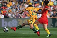 26 November 2017, Melbourne - SAM KERR (20) of Australia kicks the ball during an international friendly match between the Australian Matildas and China PR at GMHBA Stadium in Geelong, Australia.. Australia won 5-1. Photo Sydney Low