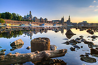 Germany, Deutschland, Saxony, Sachsen, Elbe River with Frauenkirche (Church of Our Lady), Academy of Fine Arts, Dresden Castle, Cathedral and Augustus Bridge in Dresden, Saxony, Germany