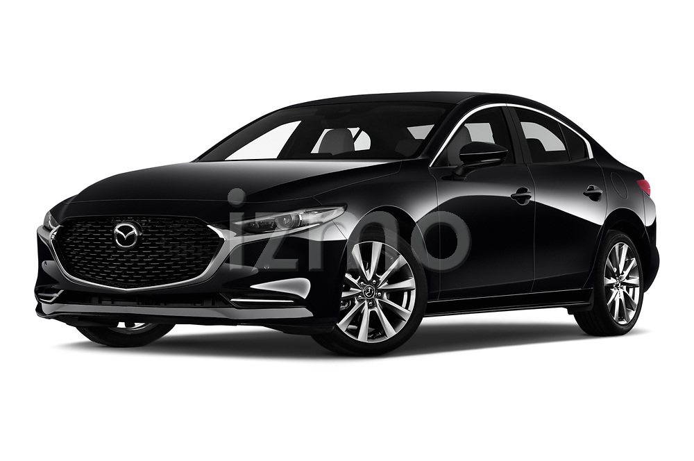 Stock pictures of low aggressive front three quarter view of 2020 Mazda Mazda3 Skycruise 4 Door Sedan Low Aggressive