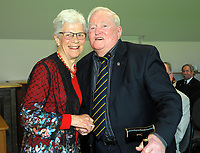 Trevor McMahon (right) with Trish McKelvey. Cricket Wellington membership badge presentations in the Long Room at the Basin Reserve in Wellington, New Zealand on Saturday, 14 November 2020. Photo: Dave Lintott / lintottphoto.co.nz