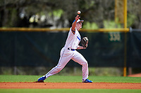South Dakota State Jackrabbits second baseman Luke Ira (1) throws to first base during a game against the FIU Panthers on February 23, 2019 at North Charlotte Regional Park in Port Charlotte, Florida.  South Dakota State defeated FIU 4-3.  (Mike Janes/Four Seam Images)