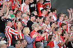 10 July 2014; XXX, Derry City, in action against yyy, Aberystwyth Town. UEFA Europa League First Qualifying Round, Second Leg, Aberystwyth Town v Derry City. Park Avenue, Aberystwth, Wales. Picture credit: Ian Cook / SPORTINGWALES