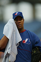 Livan Hernandez of the Montreal Expos during a 2003 season MLB game at Dodger Stadium in Los Angeles, California. (Larry Goren/Four Seam Images)