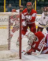 North Andover, Massachusetts - March 6, 2016: NCAA Division I, Women's Hockey East final. Boston College (white/maroon) defeated Boston University (red), 5-0, at Lawler Arena at Merrimack College. Boston College has a perfect Hockey East season - regular season, Bean Pot winner, and Women's Hockey East winner. Makenna Newkirk assists on Boston College first goal.