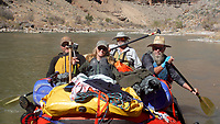 Chris Patrick (from left), Debbie Stillwell, Mark Weathers and Danny Stillwell paddle the raft on the San Juan River in southeast Utah. Sixteen people, including 12 canoes and a raft carrying four, paddle 83.5 miles of the San Juan River from the Sand Island Boat Ramp near Bluff, Ut., to Clay Hills Crossing UT.. Check out nwaonline.com/21____Daily/ and nwadg.com/photos for a photo gallery.<br /> (NWA Democrat-Gazette/David Gottschalk)