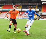 13.12.2020 Dundee Utd v Rangers: Marc McNulty challenges Borna Barisic