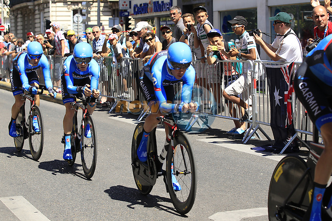Garmin-Sharp team in action during Stage 4 of the 100th Edition of the Tour de France 2013 a 25k Team Time Trial around Nice. 2nd July 2013.<br /> (Photo: Eoin Clarke/ www.newsfile.ie)