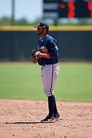 Atlanta Braves second baseman Luis Ovando (23) during a Minor League Extended Spring Training game against the Tampa Bay Rays on April 15, 2019 at CoolToday Park Training Complex in North Port, Florida.  (Mike Janes/Four Seam Images)