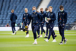 St Johnstone v Hibs…22.05.21  Scottish Cup Final Hampden Park<br />Saints players Stevie May, Callum Booth and Liam Craig on the pitch shortly after arriving at Hamden Park<br />Picture by Graeme Hart.<br />Copyright Perthshire Picture Agency<br />Tel: 01738 623350  Mobile: 07990 594431