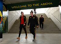 20180228 - LARNACA , CYPRUS :  Belgian Sarah Wijnants (left) and Laura Deloose (right) pictured during a women's soccer game between Spain and the Belgian Red Flames , on friday 2 March 2018 at the AEK Arena in Larnaca , Cyprus . This is the second  game in group B for  Belgium during the Cyprus Womens Cup , a prestigious women soccer tournament as a preparation on the World Cup 2019 qualification duels. PHOTO SPORTPIX.BE | DAVID CATRY