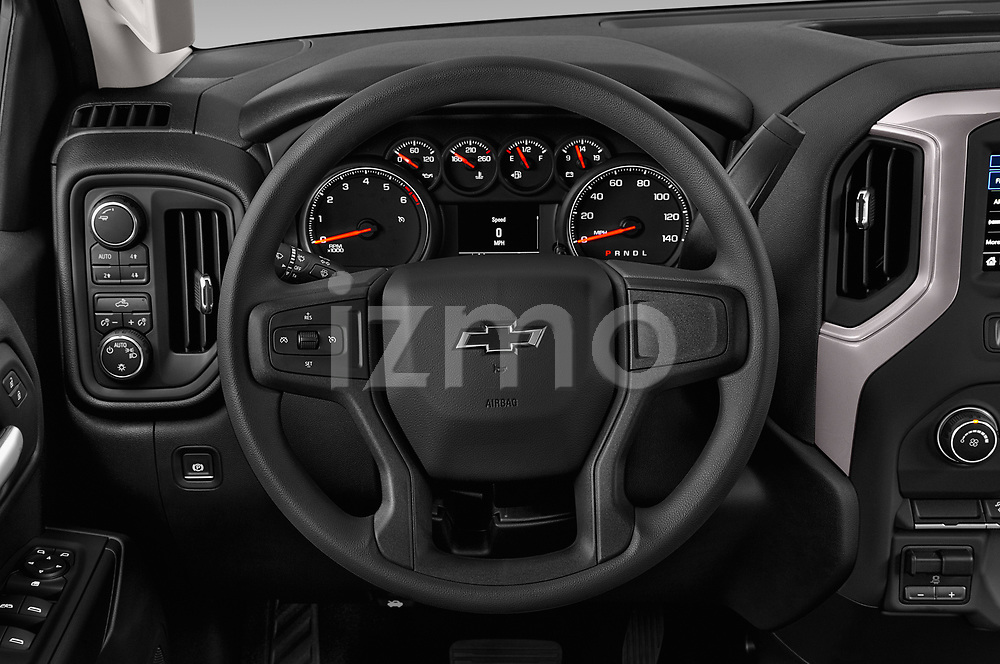 Car pictures of steering wheel view of a 2020 Chevrolet Silverado 1500 Custom Trail Boss 4 Door Pick Up