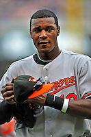 24 May 2009: Baltimore Orioles' center fielder Adam Jones stands in the dugout during a game against the Washington Nationals at Nationals Park in Washington, DC. The Nationals rallied to defeat the Orioles 8-5 and salvage a win in their interleague series. Mandatory Credit: Ed Wolfstein Photo
