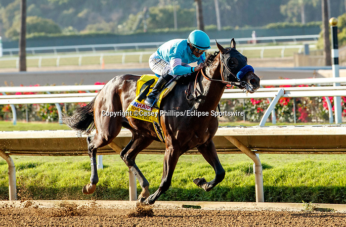 DEL MAR, CA  SEPTEMBER 6: #4 Pinehurst, ridden by Mike Smith, in the stretch of the Runhappy Del Mar Futurity (Grade 1) on September 6, 2021 at Del Mar Thoroughbred Club in Del Mar, CA. (Photo by Casey Phillips/Eclipse Sportswire/CSM)