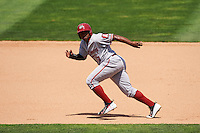 Altoona Curve left fielder Barrett Barnes (17) running the bases during a game against the Erie SeaWolves on July 10, 2016 at Jerry Uht Park in Erie, Pennsylvania.  Altoona defeated Erie 7-3.  (Mike Janes/Four Seam Images)